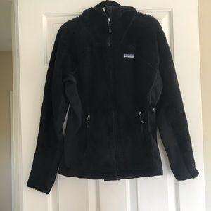 Black furry zip up with hood
